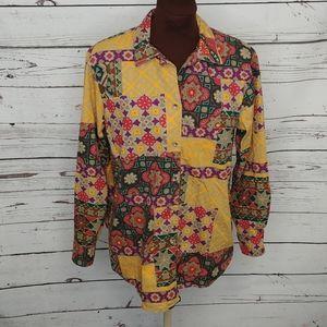 Vintage Ruff Hewn Floral Cotton Western Shirt